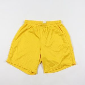 Vintage Mesh Silk Nylon Running Soccer Shorts Gold